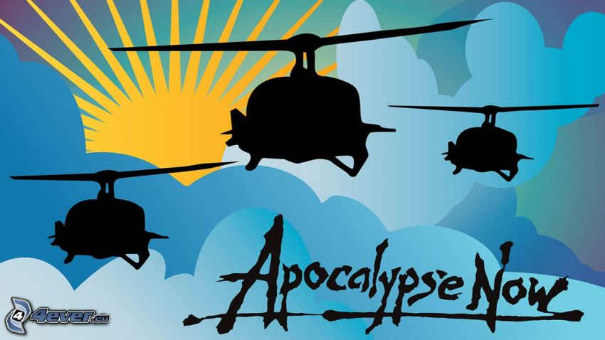 Apocalypse Now, military helicopters, cartoon sun, silhouette of helicopter