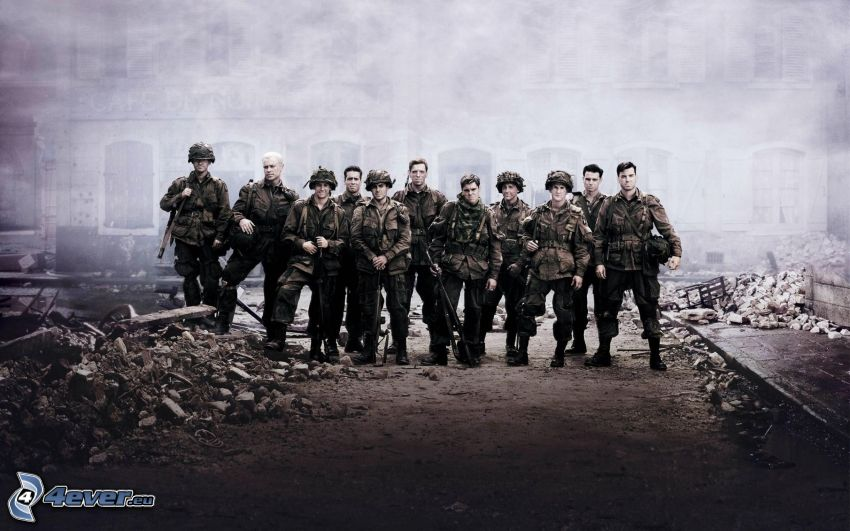 Band of Brothers, soldiers, ruins