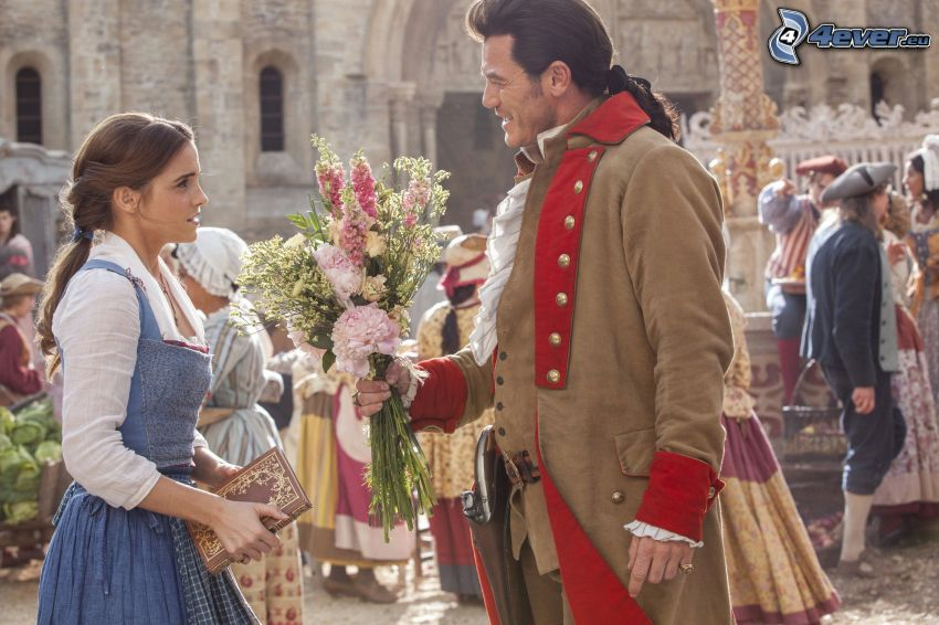 Beauty and the Beast, Emma Watson, historical square, bouquets