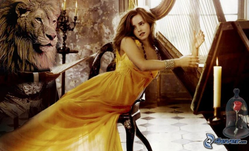 Beauty and the Beast, Emma Watson, lyre, lion