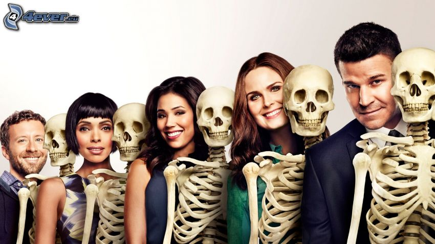 Bones, David Boreanaz, Emily Deschanel, Michaela Conlin, skeletons