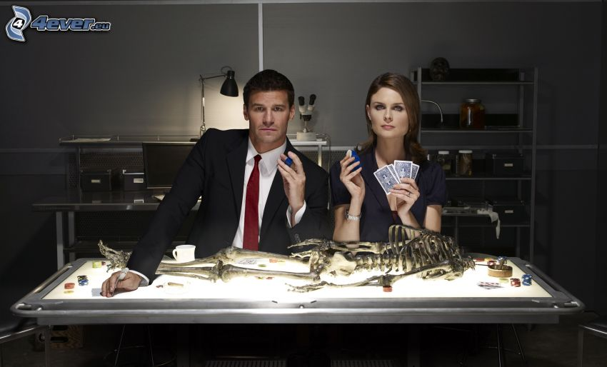 Bones, Seeley Booth, David Boreanaz, Emily Deschanel, skeleton, laboratory