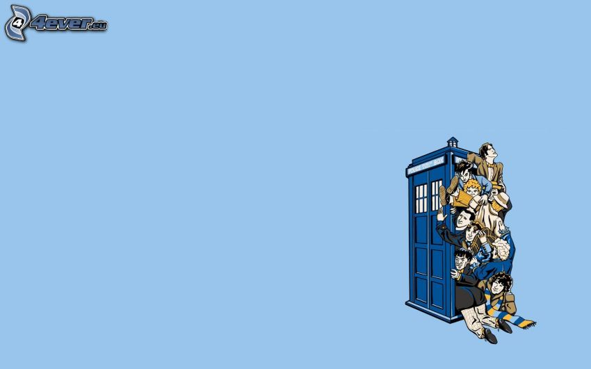 Doctor Who, telephone booth, cartoon characters
