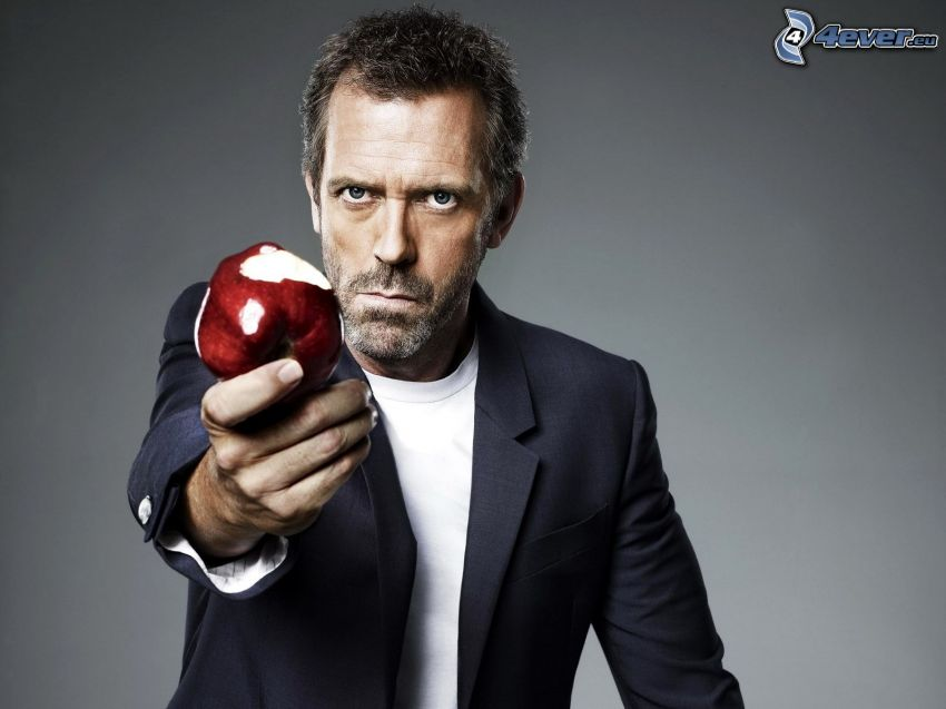 Dr. House, red apple