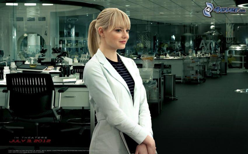 Emma Stone, doctor, blonde, Spiderman, office