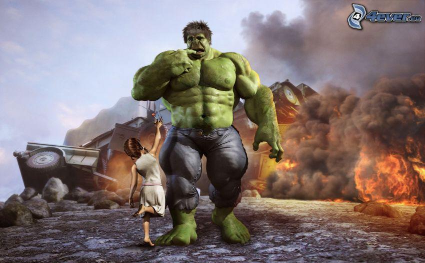 Hulk, explosion, girl