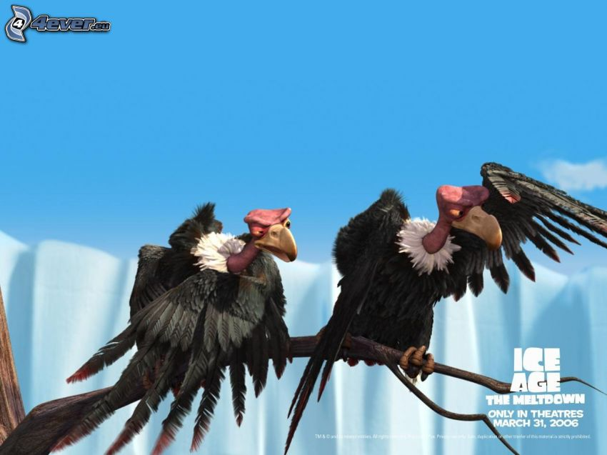 Ice Age, vulture, branch