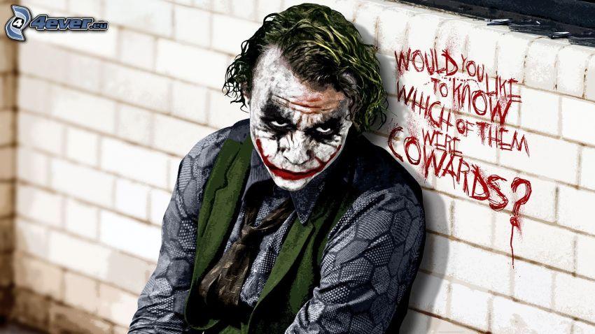 Joker, wall, text