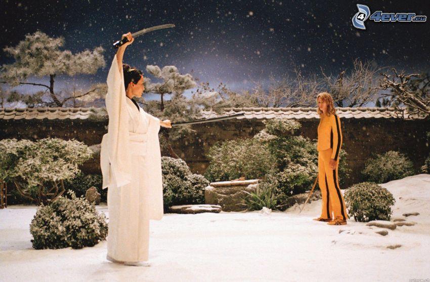 Kill Bill, samurai, garden, snow