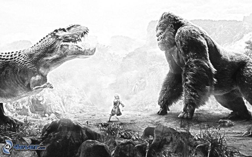 King Kong, dinosaur, black and white
