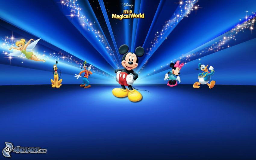 Mickey Mouse, blue background