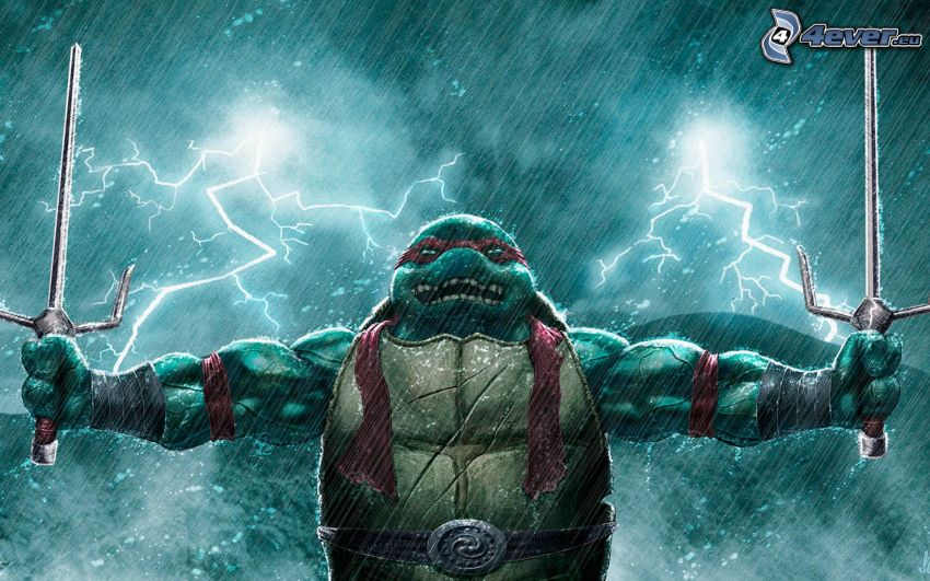 ninja turtles, lightning, rain