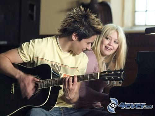 Oliver James, Hilary Duff, boy with a guitar