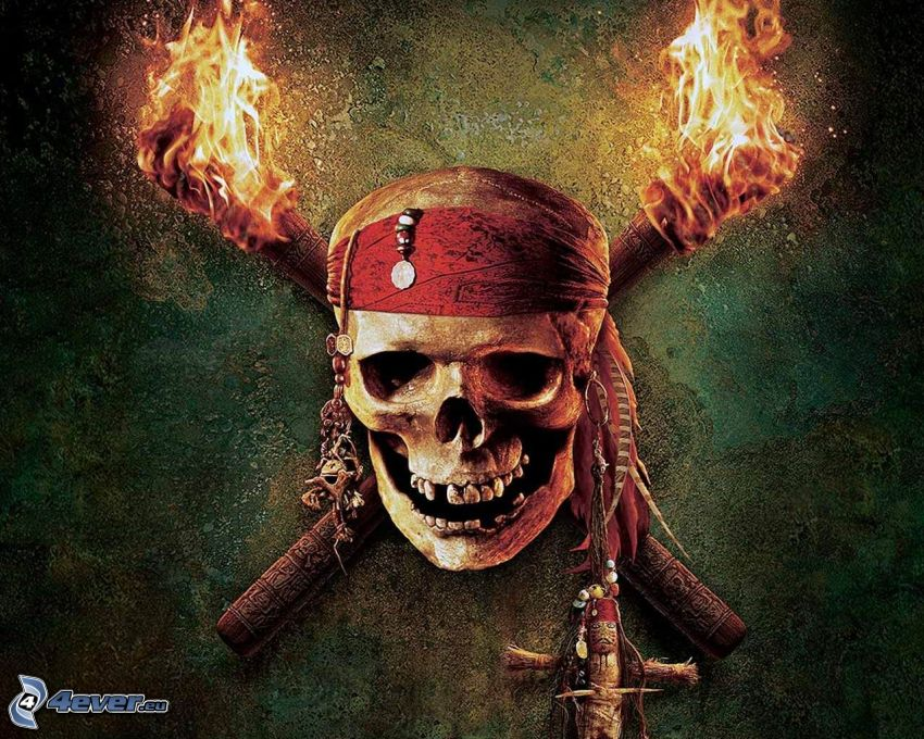 Pirates of the Caribbean, skull, torch, fire