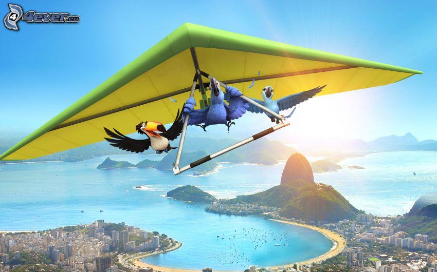 Rio, birds, hang gliders, Rio De Janeiro, cartoon