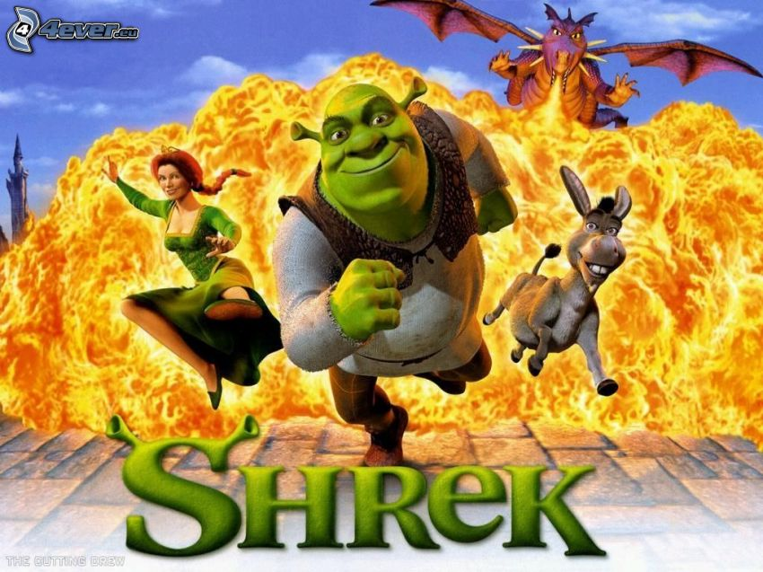 Shrek, Fiona, Donkey, dragon, fire