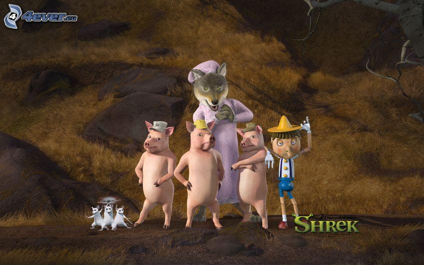 Shrek, wolf, three piglets, Pinocchio