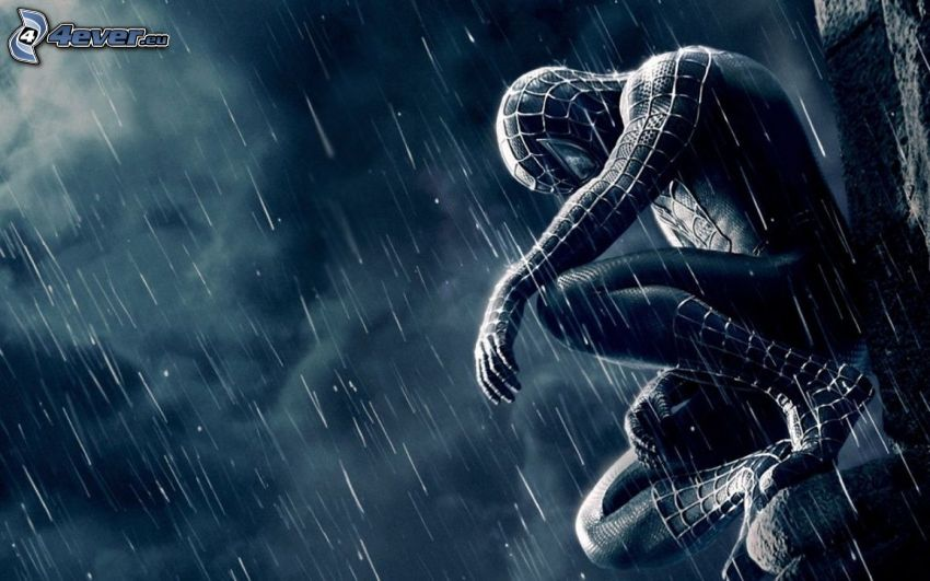 Spiderman, rain