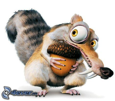 squirrel from the movie Ice Age, nut, eyes