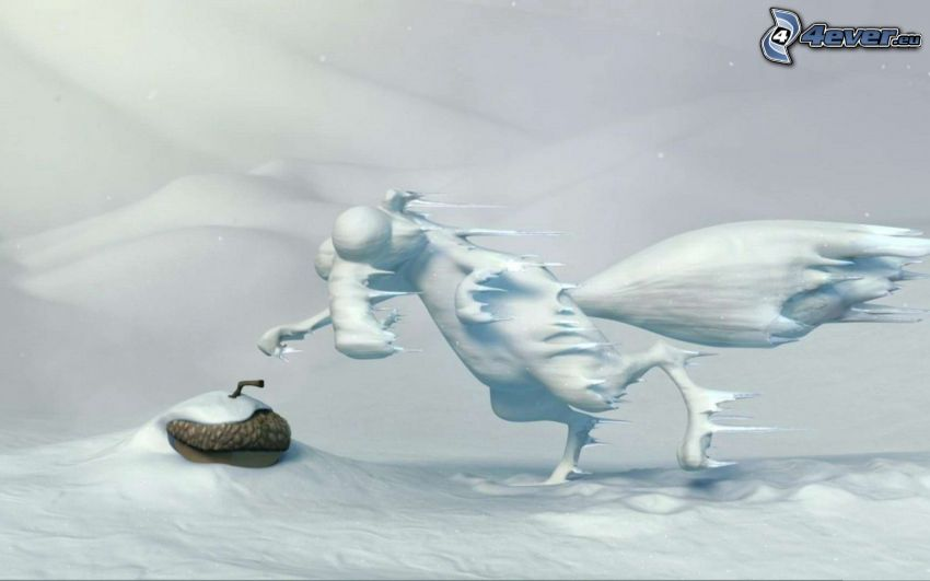 squirrel from the movie Ice Age, snow, frost, acorn