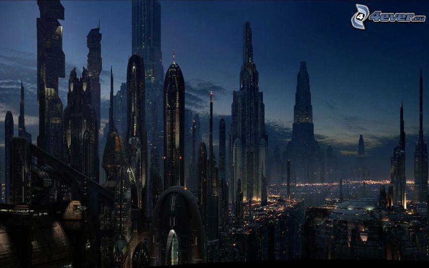 Star Wars, skyscrapers, night