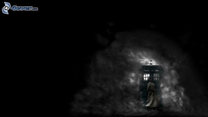 telephone booth, Doctor Who, fog, cartoon