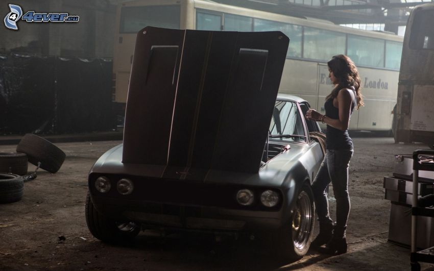 The Fast and the Furious, brunette, car hood