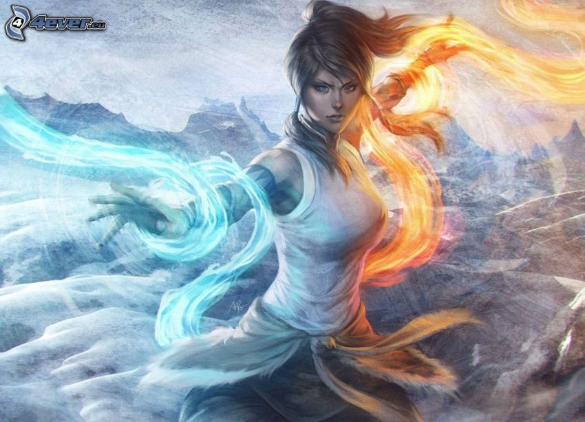 The Legend of Korra, cartoon woman, fire and water