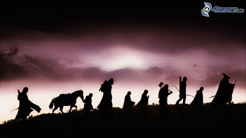 The Lord of the Rings, silhouettes of people, horse