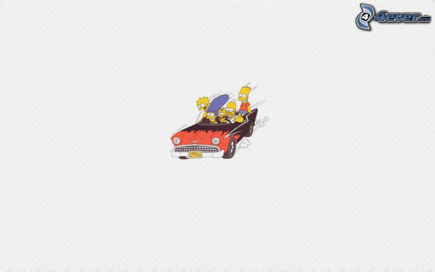 The Simpsons, cartoon characters, car, convertible, speed