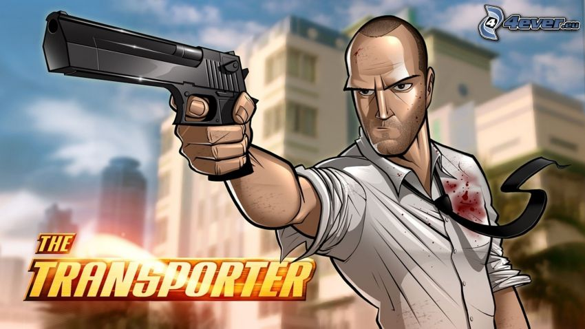 The Transporter, man with a gun, cartoon
