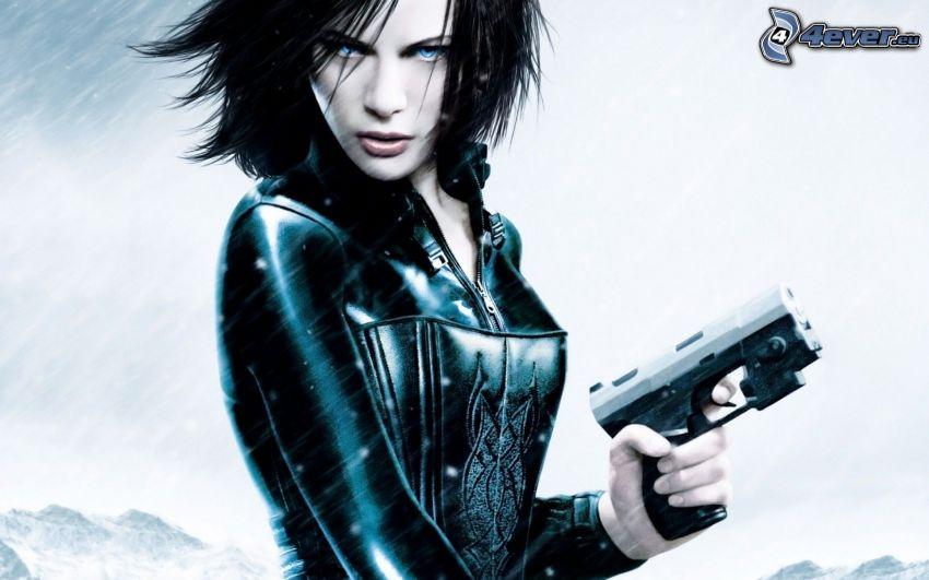 Underworld, woman with a gun