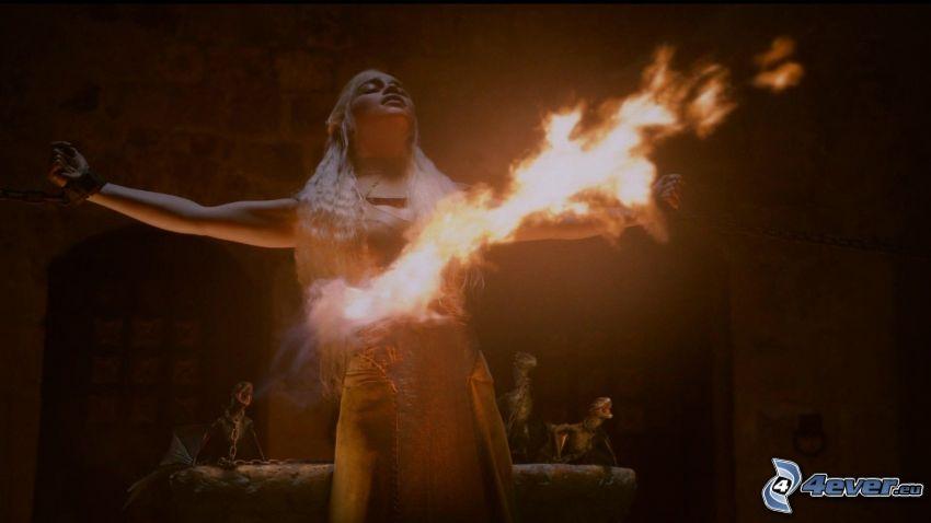 Valar Morghulis, A Game of Thrones, dragon, flame
