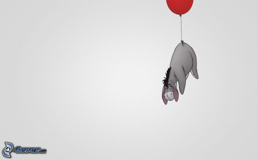 Winnie the Pooh, donkey, balloon