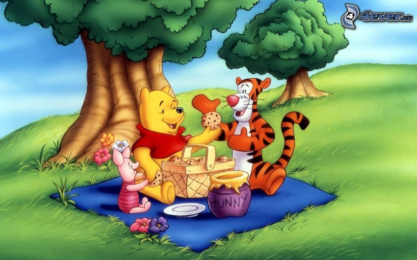 Winnie The Pooh and friends, picnic