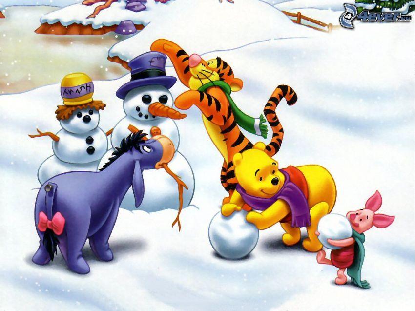 Winnie The Pooh and friends, snowmen
