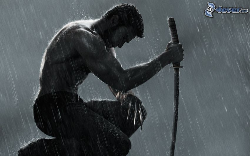 Wolverine, muscular guy, katana, sword, rain