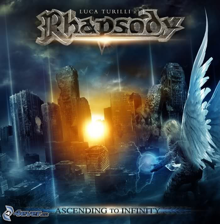 Ascending to Infinity, Rhapsody of Fire, man, wings, ruined city