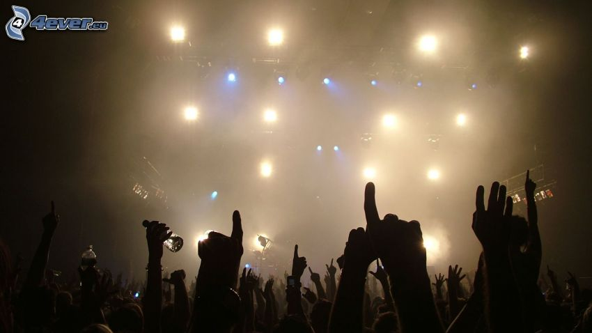 concert, fans, crowd, hands, lights