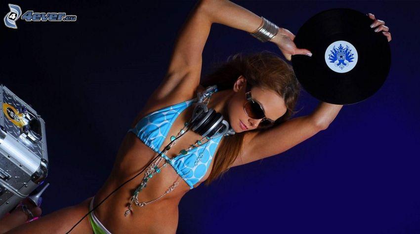 DJ, woman in bikini, headphones, vinyl