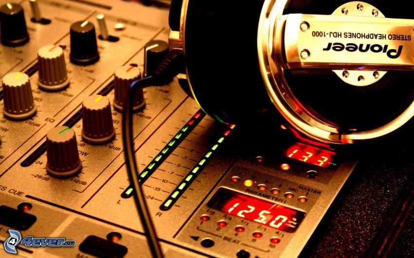 DJ console, headphones, Pioneer