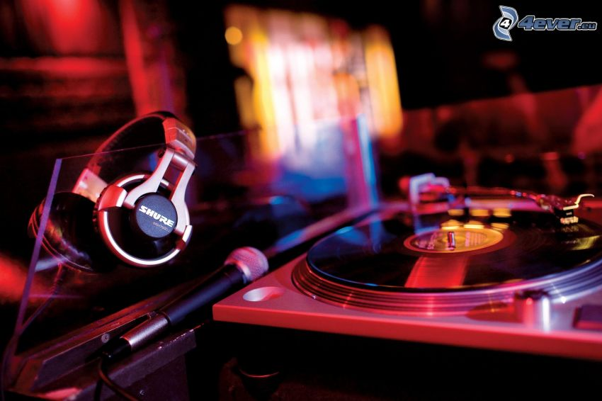 DJ console, headphones