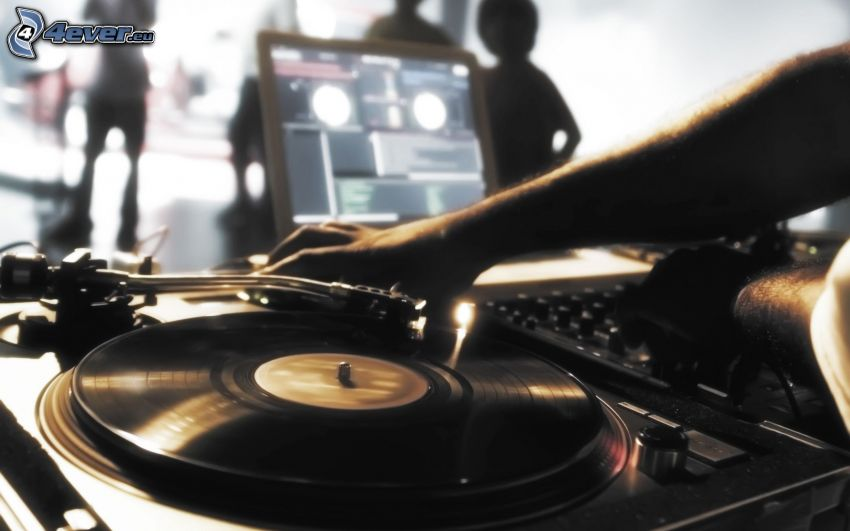 DJ console, party