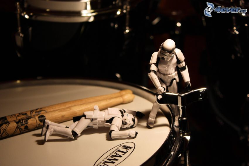 Drums, robots, sticks, Stormtrooper
