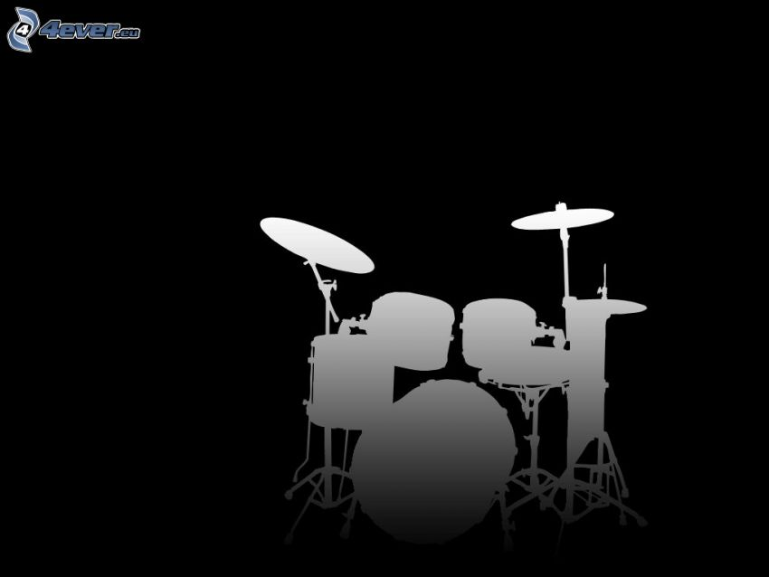 Drums, silhouette, black and white
