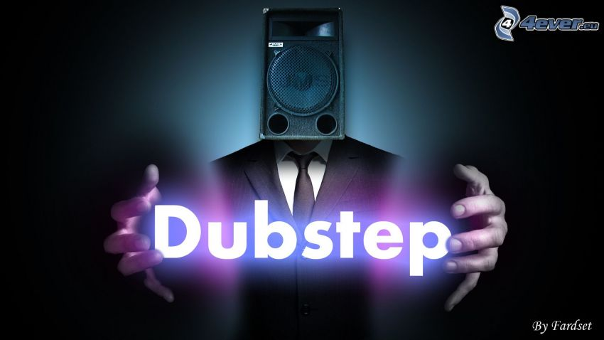 Dubstep, speaker, man in suit, hands