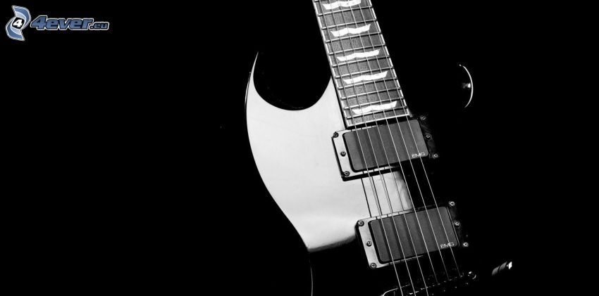 electric guitar, black and white photo