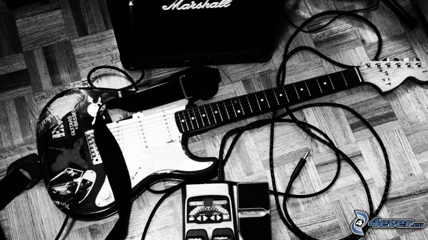 electric guitar, guitar amplifier, Marshall