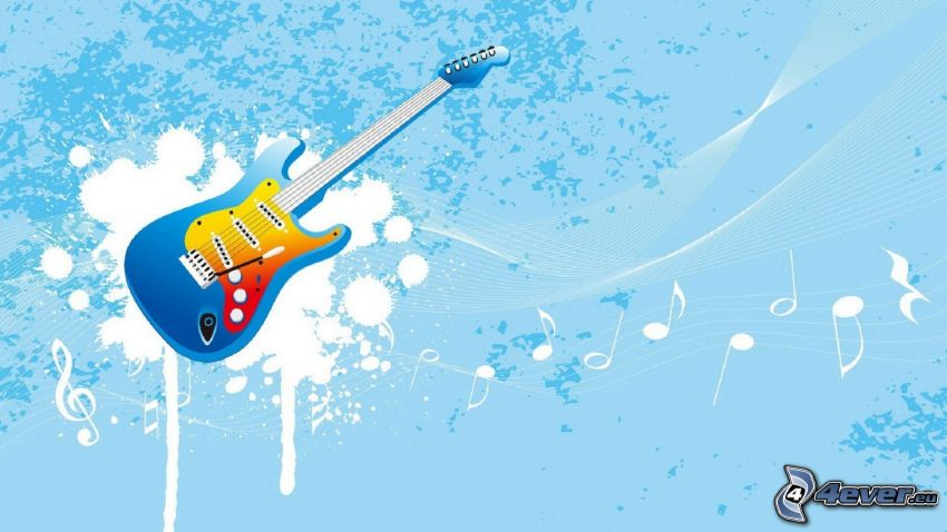 electric guitar, sheet of music, blots, blue background