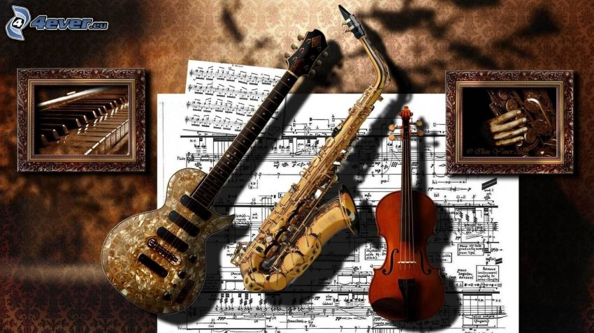 electric guitar, trumpet, violin, sheet of music, piano